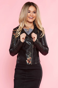 SunShine black jacket casual from ecological leather embroidered with inside lining with metallic spikes
