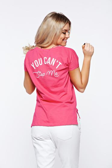 Top Secret pink t-shirt casual with easy cut cotton with print details