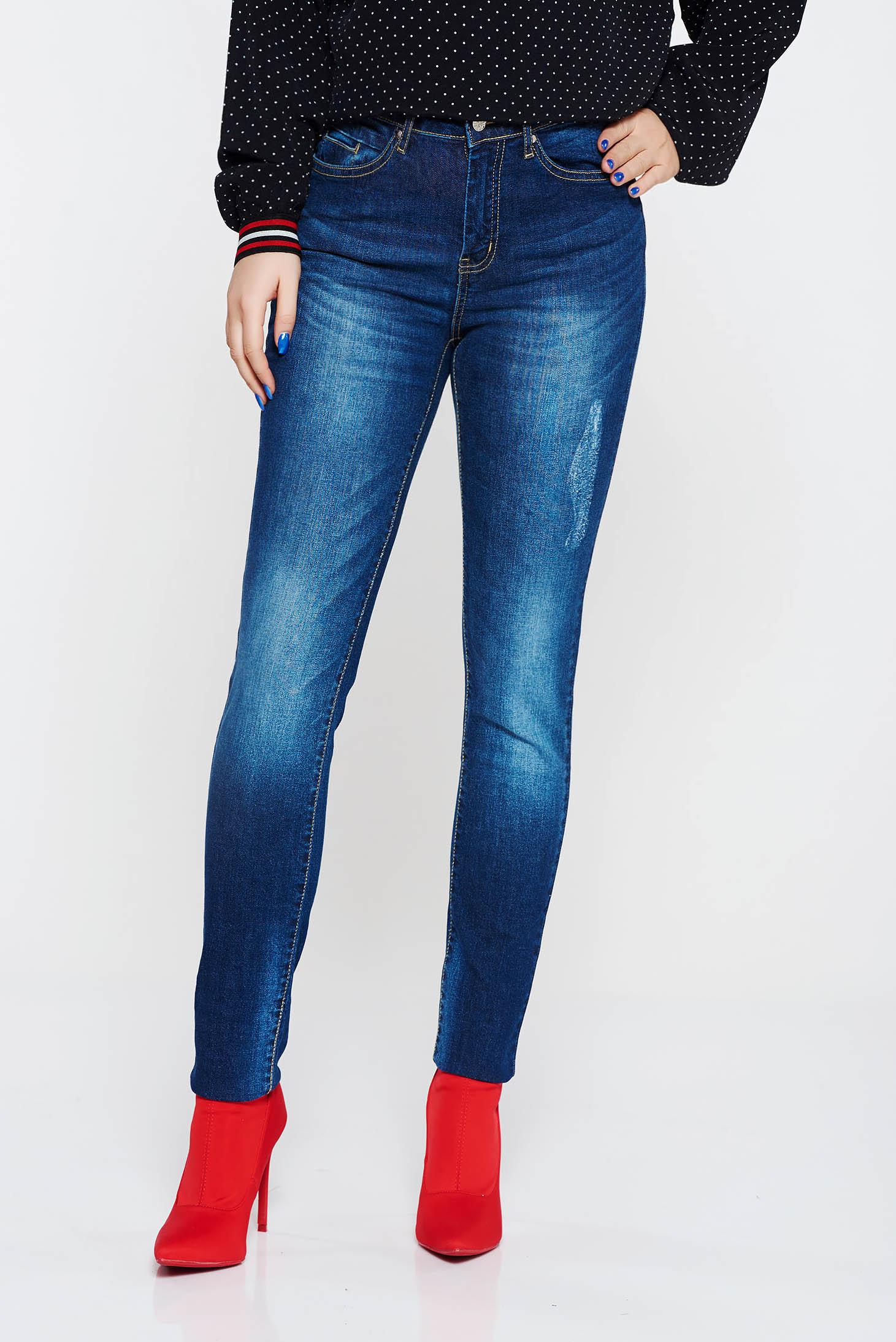 Pantaloni Top Secret albastri casual cu talie inalta din bumbac cu buzunare in fata si in spate