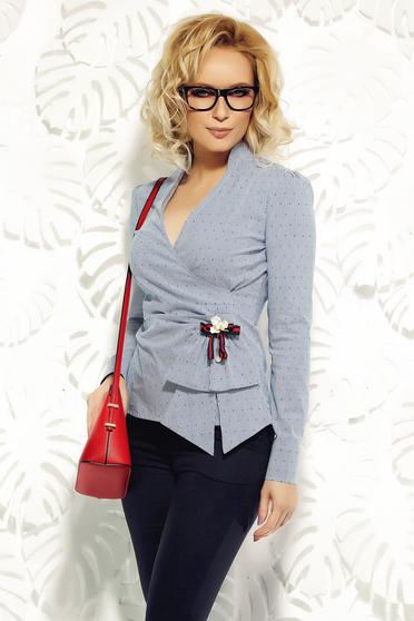 Fofy lightblue women`s shirt office elastic cotton with v-neckline