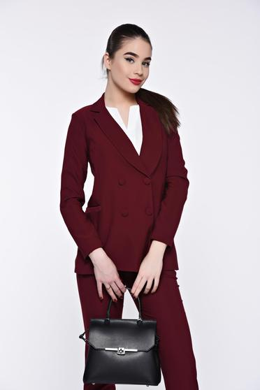 Artista burgundy jacket office from non elastic fabric with inside lining with straight cut