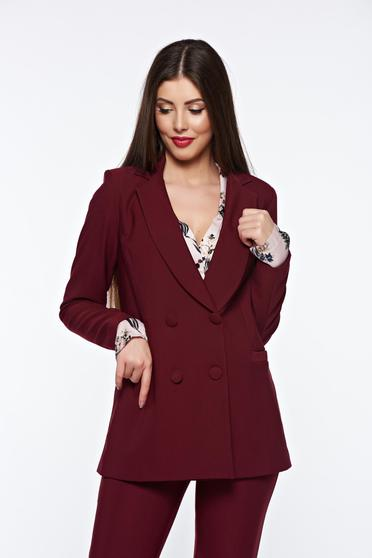 Artista burgundy jacket office from non elastic fabric with inside lining arched cut