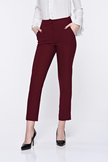 Artista burgundy trousers office conical with pockets with medium waist