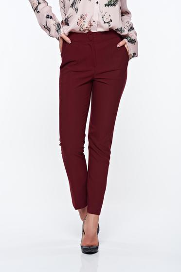 Artista burgundy trousers office with pockets with medium waist slightly elastic fabric