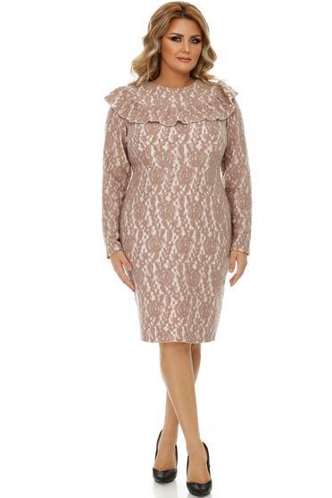Cream dress elegant raised pattern slightly elastic fabric pencil