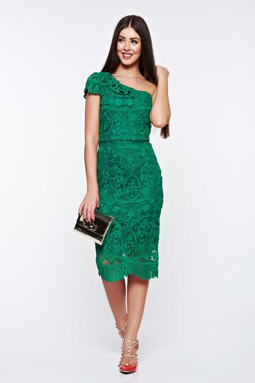 Green dress occasional pencil from laced fabric with inside lining