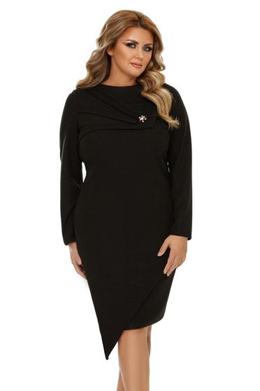 Black dress elegant asymmetrical slightly elastic fabric with tented cut