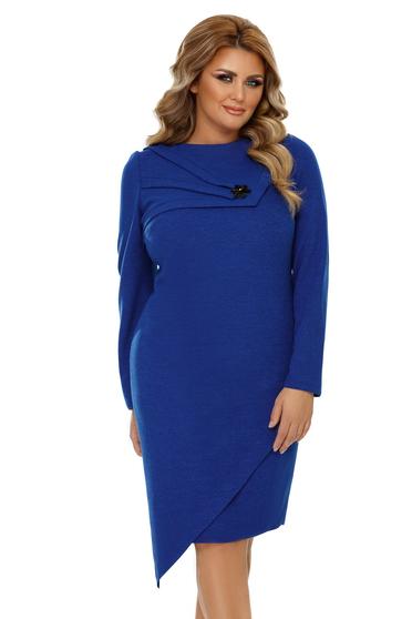 Blue dress elegant asymmetrical slightly elastic fabric with tented cut