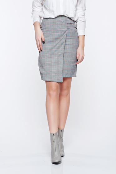 Top Secret grey skirt office with inside lining slightly elastic fabric high waisted