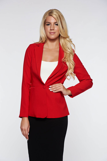 Artista red jacket with inside lining office accessorized pockets from non elastic fabric