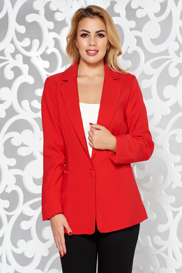 Artista red jacket with inside lining office from non elastic fabric arched cut