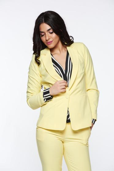 Artista yellow jacket with inside lining office accessorized pockets from non elastic fabric