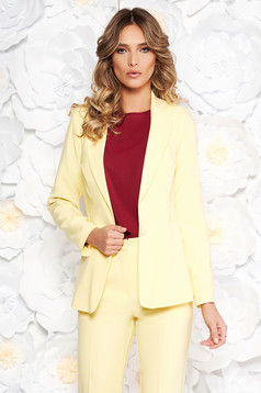 Artista yellow jacket with inside lining office from non elastic fabric arched cut