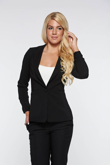 Artista black jacket with inside lining office accessorized pockets from non elastic fabric