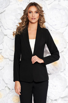 Artista black jacket with inside lining office from non elastic fabric arched cut
