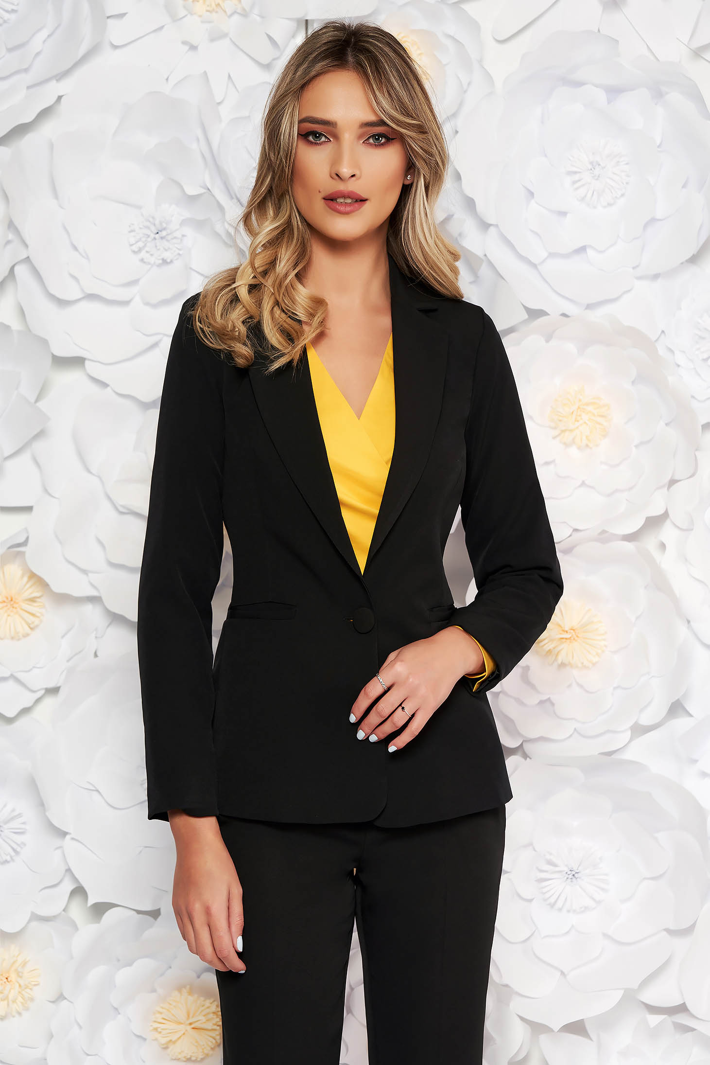 Black jacket with inside lining office from non elastic fabric arched cut