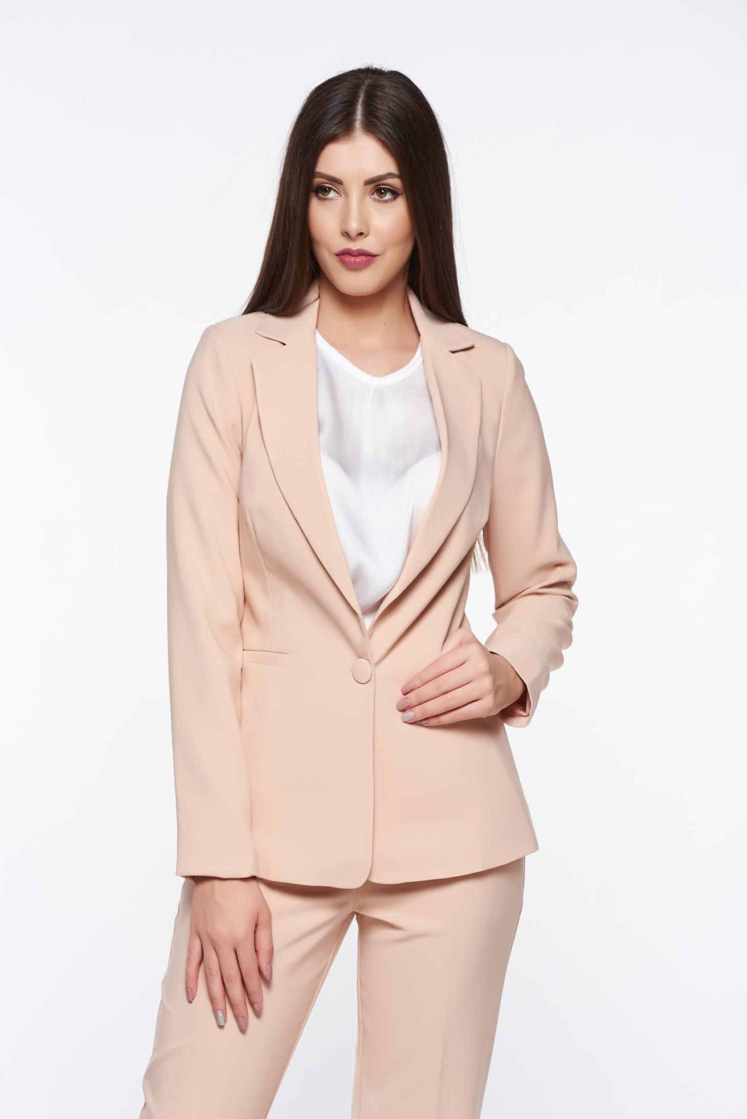 Artista rosa jacket with inside lining office accessorized pockets from non elastic fabric