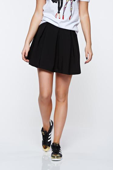 Artista black casual cloche skirt slightly elastic fabric with medium waist