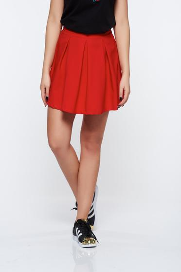 Artista red casual cloche skirt slightly elastic fabric with medium waist
