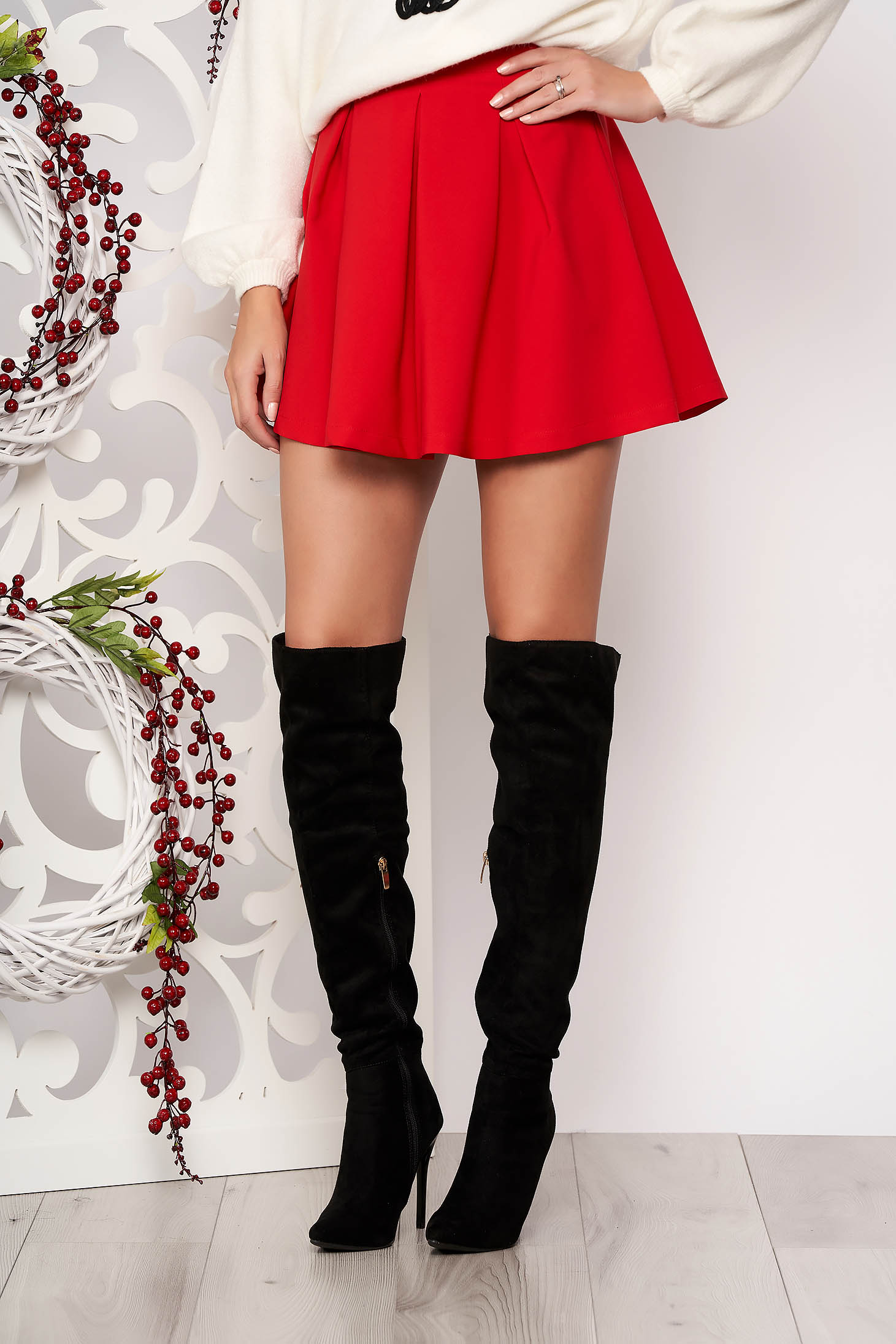 Artista red casual cloche skirt slightly elastic fabric with medium waist
