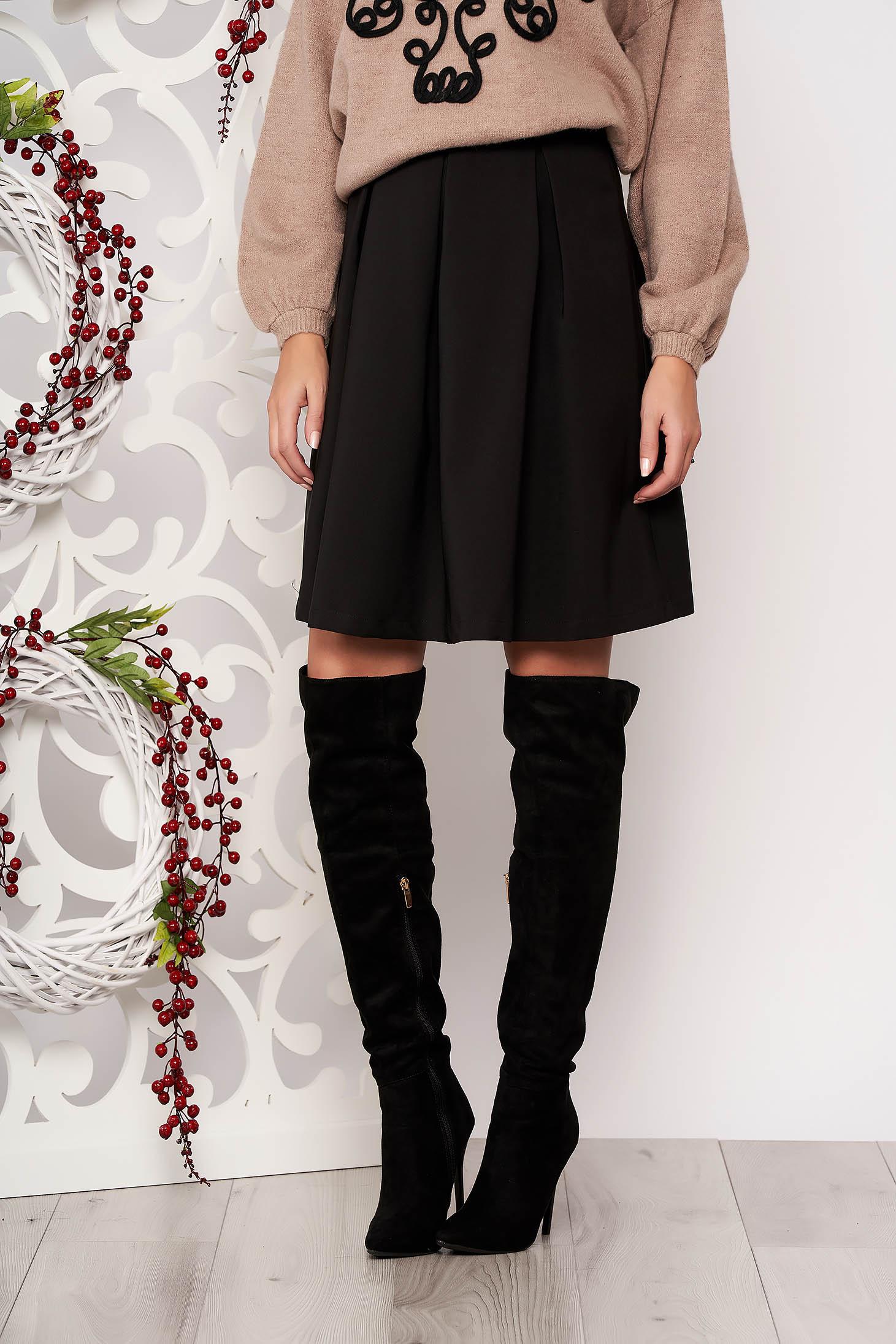 Black skirt office midi cloche slightly elastic fabric