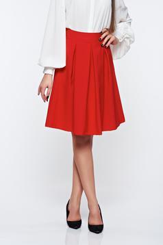 Artista red skirt office midi cloche slightly elastic fabric