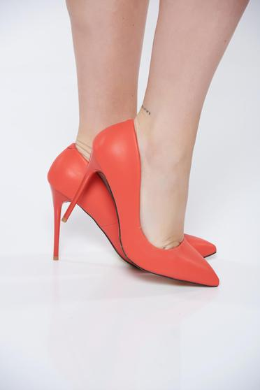 Office with high heels from ecological leather red stiletto shoes