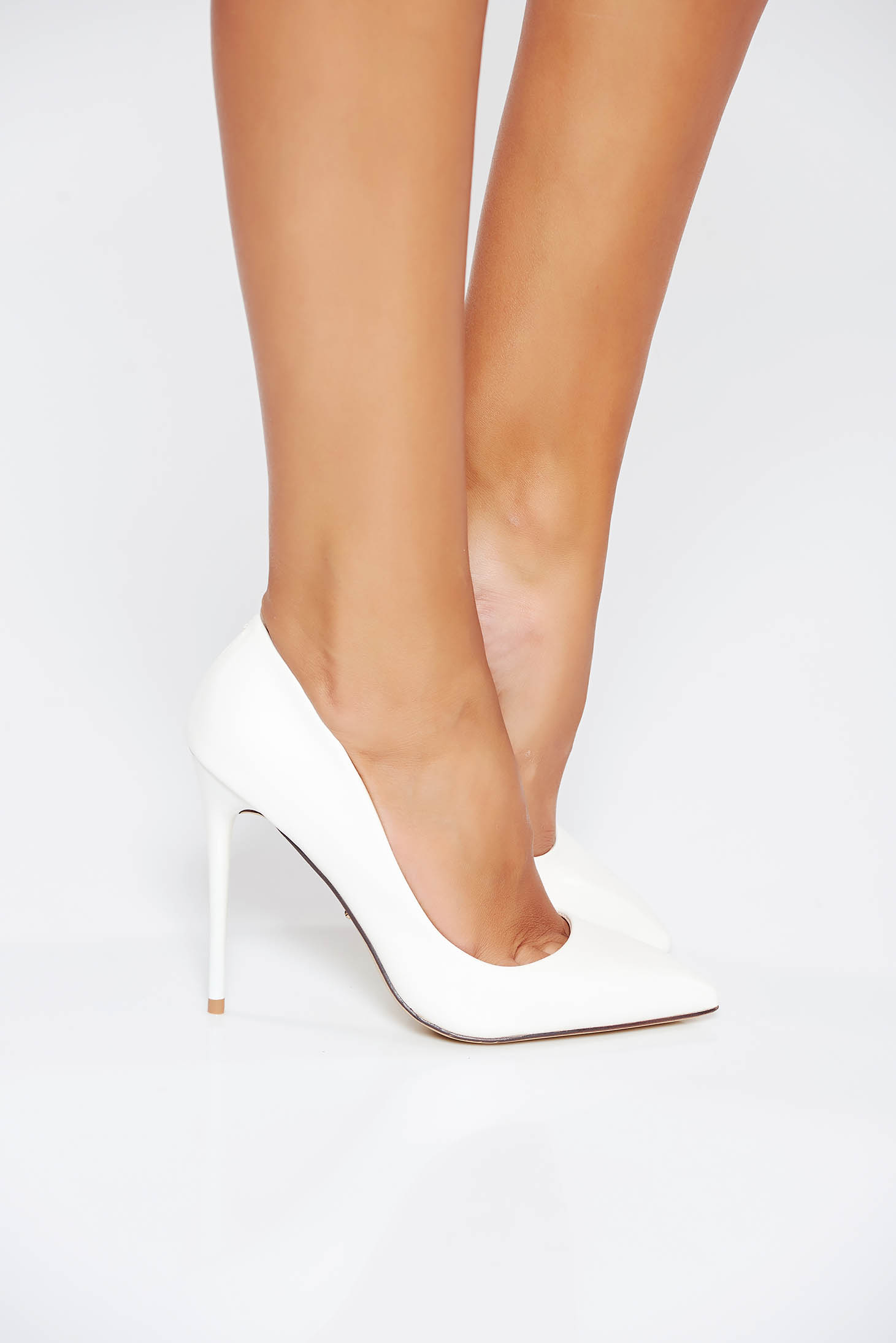 Office with high heels from ecological leather white stiletto shoes