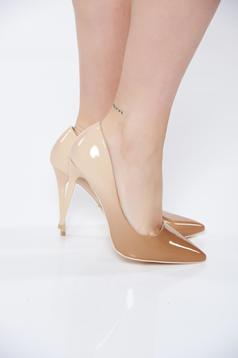 Cream shoes elegant from ecological leather with high heels