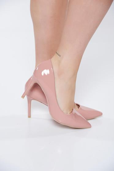 Elegant pink stiletto from ecological leather shoes