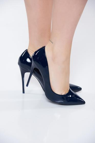 Darkblue shoes from ecological varnished leather stiletto elegant