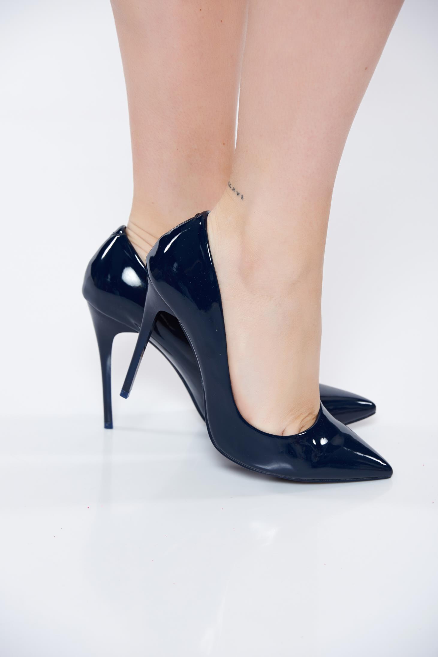 963fb43fae5 Darkblue shoes from ecological varnished leather stiletto elegant