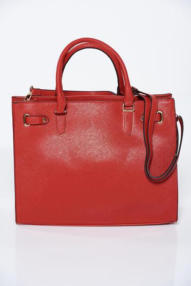 Red bag office from ecological leather