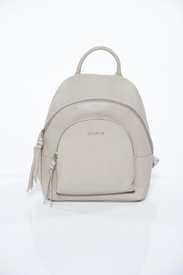 Grey casual backpack from ecological leather