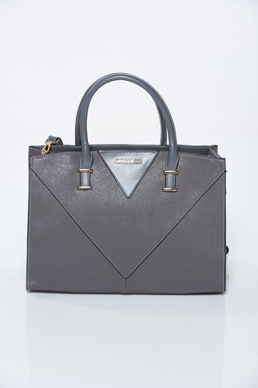 Grey bag office from ecological leather
