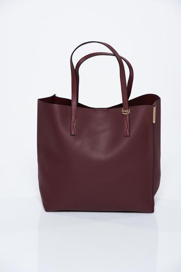 Burgundy bag casual from ecological leather