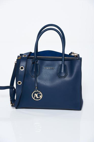 Blue office bag from ecological leather