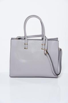 Grey office bag from ecological leather