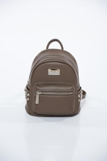 Grey casual backpack from ecological leather with metal accessories