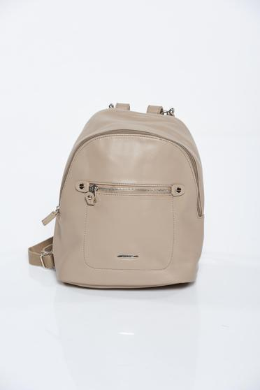 Cream backpacks casual from ecological leather