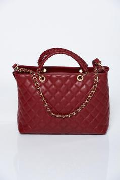 Burgundy bag office natural leather with a compartment with internal pockets