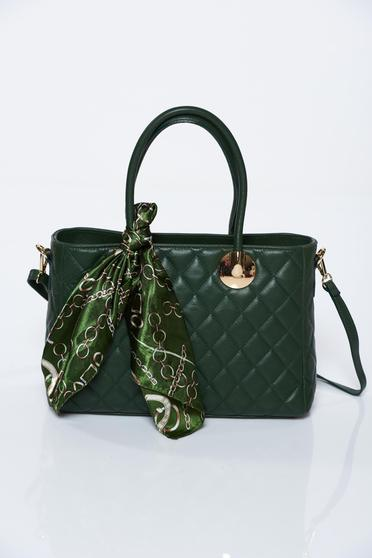 Green office bag natural leather