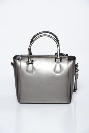 Grey bag office natural leather
