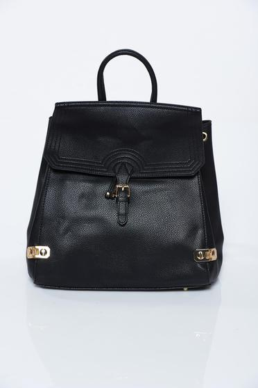 Black backpacks casual from ecological leather