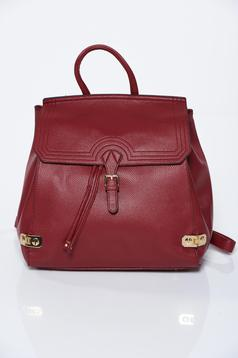 Burgundy backpacks casual from ecological leather