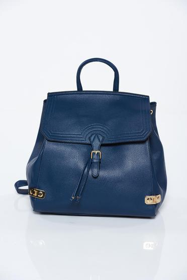Blue backpacks casual from ecological leather