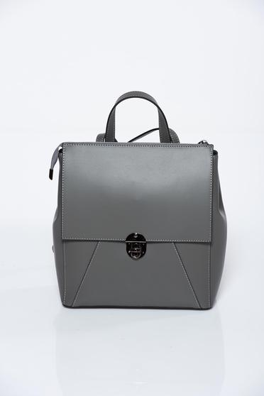 Grey backpacks natural leather casual