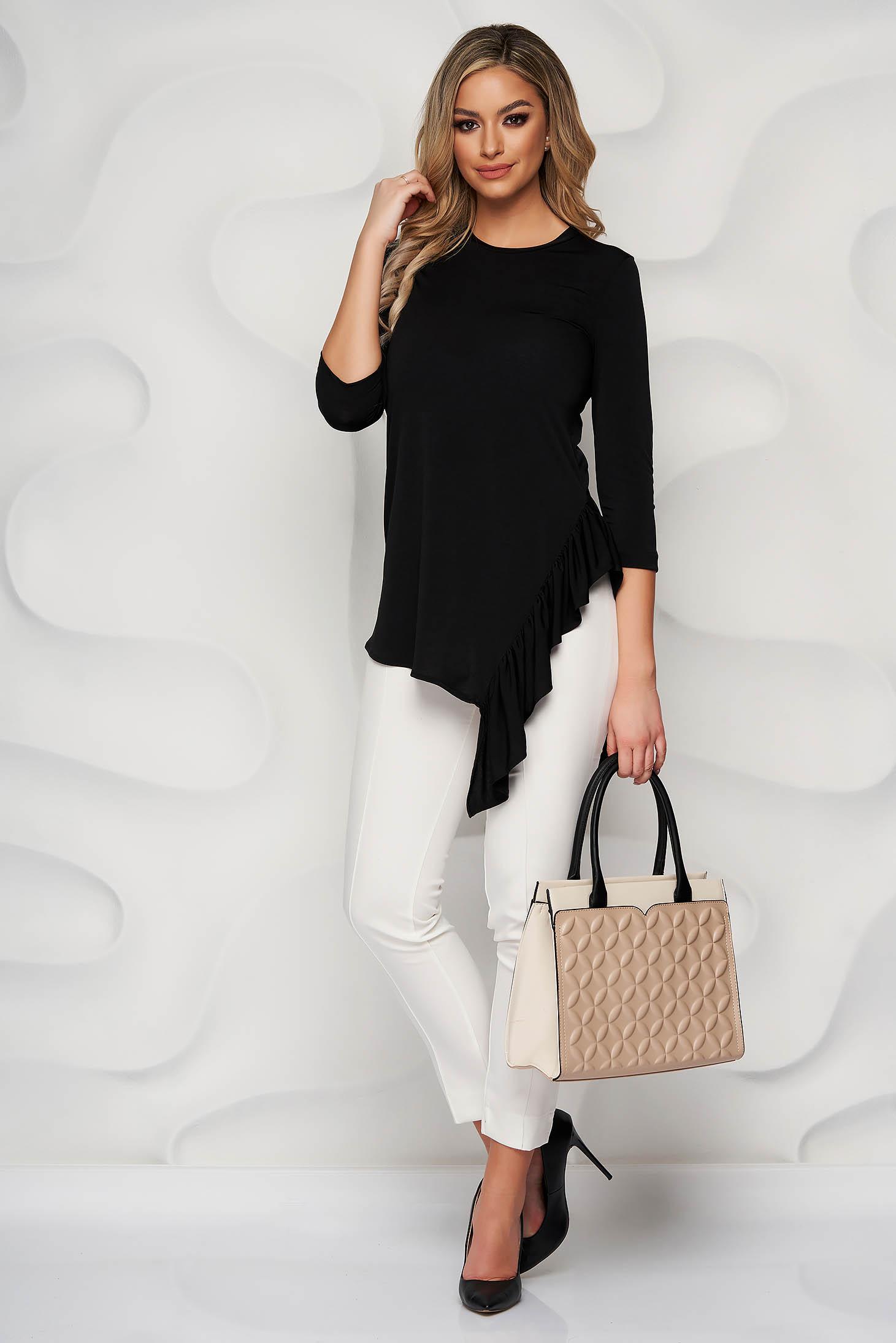 Bluza dama StarShinerS neagra eleganta cu croi larg asimetrica din material elastic cu volanase si maneci trei-sferturi
