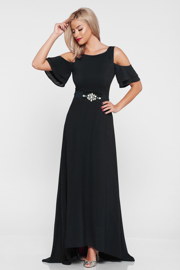 StarShinerS black dress occasional both shoulders cut out with inside lining asymmetrical