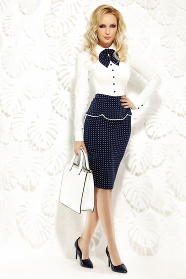 Fofy darkblue office pencil skirt slightly elastic fabric with frilled waist